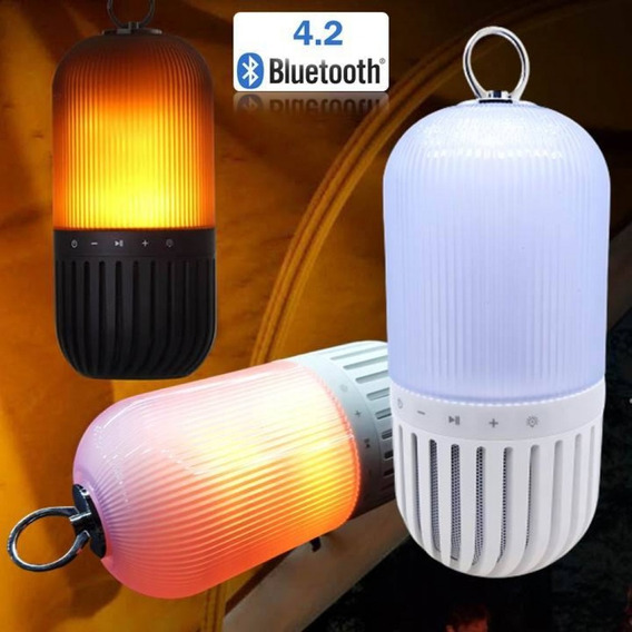 Luminária De Mesa Tocha De Fogo Caixa De Som Bluetooth 57002