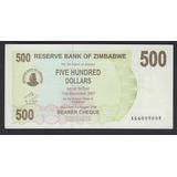 Billete De Zimbabwe 500 Dolares Año 2007 Unc (c85)