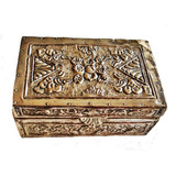 Joyero Antiguo Caja De Madera Revestido En Plata Repujada