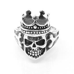 Anel Crânio Skull Caveia Rei Prata Genuina Usa Joias 14007