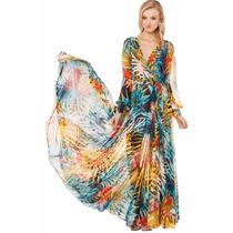 Elegante Vestido Japones Largo De Fiesta O Casual Mod 6593