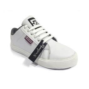 Zapatillas Bross Baja Simil Cuero Blanca 17