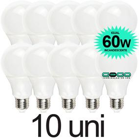 Kit 10 Lampada Bulbo Led 7w A60 Econômica Bivolt 3u 4u E27