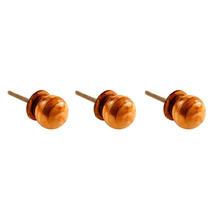 Conjunto 3 Puxadores Imitando Madeira Em Cerâmica - 6x3 Cm