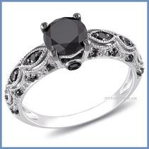 Anillo De Compromiso Diamante Natural Negro Oro 18k -50% 290