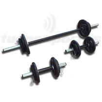Kit Fitness 30kg De Anilhas, 3 Barras + Hand Grip!