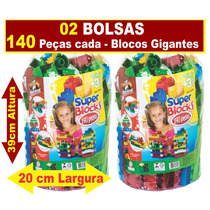 02 Bolsas Super Blocks C/ 140 Pçs Grandes - Blocos De Monta
