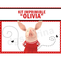 Kit Imprimible Olivia La Chanchita, Invitaciones Candybar