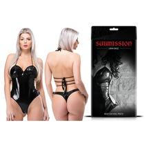 Fantasia Sexy Feminina Body Em Couro Vinil Preto + Brinde