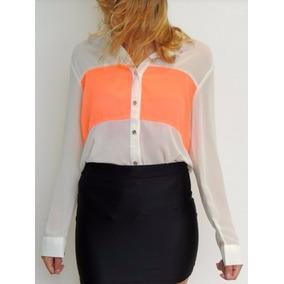 Camisa Blusa Poseida Crepe Seda Gasa Blanco Con Naranja Tu