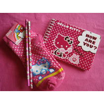 Set Hello Kitty Libreta Sticker Lapiz Tines