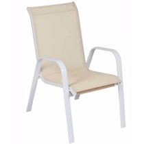 Cadeira Alumínio Tela Sling Bege Área Externa Piscina