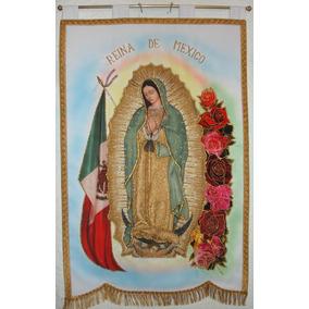 Virgen De Guadalupe Con Bandera Y Rosas Estandarte.