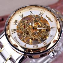 Relógio Masculino Dourado Fundo Branco Marca Winner