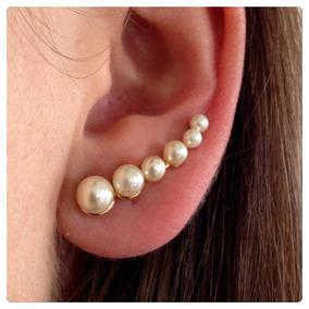 Brinco Em Prata Lei Folheado A Ouro 18k Ear Cuff Pérolas