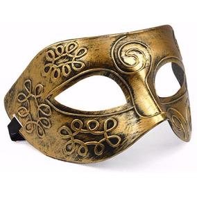 Máscara Masculina Sexy Dourada Medieval Festa Sensual Gold