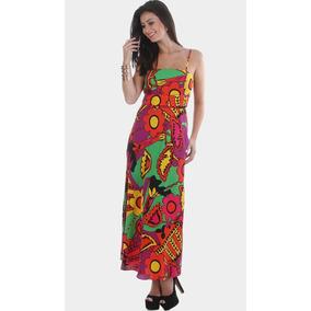 Vestido Longo Grife Luxo Estampa Especial=tam G=105 Cm Busto