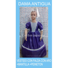 Disfraz Dama Antigua Negrita Vendedora Paisana Talle4/6/8/10