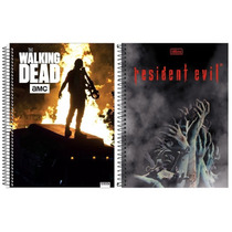 Kit C/2 Cadernos/ Walking Dead & Resident Elvil _10 Matérias