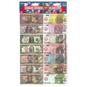Mini Dinheiro Brinquedo Dinheirinho Mundial Com 66 Notas