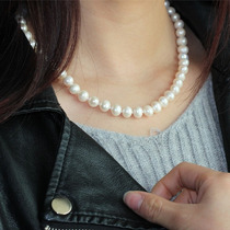 Hermoso Collar De Perlas Cultivadas Blanco, Broche De Plata.