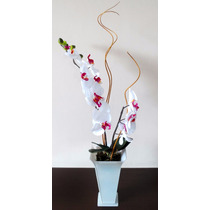 Arranjo Artificial Orquídea Silicone Com 2 Galhos Vaso Vidro