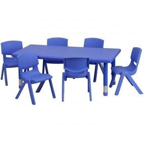 Escritorio Mesa Con 6 Sillas Escolar Kinder Niños Hm4