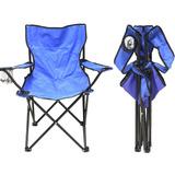 Cadeira Camping Dobravel Praia Pesca Porta Copo + Bolsa