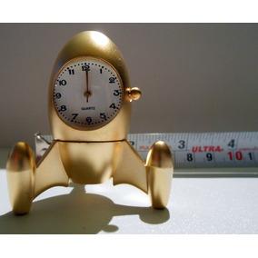 Mini Reloj De Escritorio Baño De Oro Cohete Espacial Fn4
