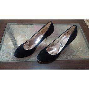 Zapatos Stiletto Negro Con Taco Dorado
