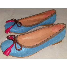 Chatitas Azul Intenso Con Brillitos Flecos Fuxia Talle 36