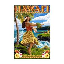 Hawaii Hula Girl On Coast, Merrie Monarch Festival Print,