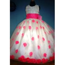 Vestido De Paje Con Pétalos De Rosa Color Rosa Mexicano