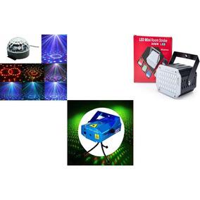 Combo Luces Media Esfera Multicolor Láser Lluvia Mini Flash