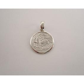 Dije San Jorge Y Dragón Plata 925 Medalla Circular Unisex