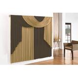 2-cortina Elegance 3,00x2,80 Tabaco E Avelã E 2-varões De 3m