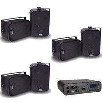 Kit Som Ambiente Amplificador Sa10 + 3 Pares De Caixa Sp400