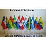 Banderas De Paises - 10 Uds (tamaño 30x40cm) Asta En Madera