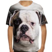 Camiseta Cachorro Bulldog Americano Infantil