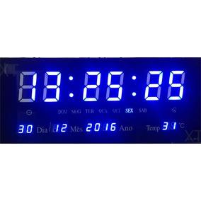 Relogio Digital Led Parede 36cm Azul Alarme Calendario Hora
