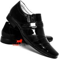 Sapato Casual Verniz Masculino Luxo Italiano Bico Longo