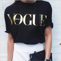 T Shirt Feminina Vogue Impresso Plus Size Tendencias
