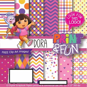 6 Kits Digital Scrapbook Dora Aventureira + Papel Digital