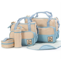 Kit Bolsa Maternidade Bebe 5 Peças Azul Claro Marrom E Rosa
