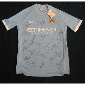 Jersey Autografiado Firmado Manchester City Equipo Tevez Kun