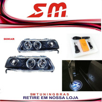 Farol Angel Eyes Led Gol Saveiro G3 Black + Luz Cortesia Vw