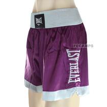 Short Muay Thai Everlast Cetim Mma Boxe Bermuda Bordado Fem.