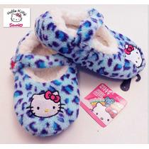 Pantuflas 19 Cm O 22 Cm Hello Kitty Nina Fuzzy Azul Hermosas