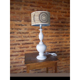 Lámpara De Mesa Vintage - Madera Torneada