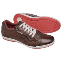 Sapatênis Casual Estilo Ferracini Ziper/s Couro Tchwm Shoes